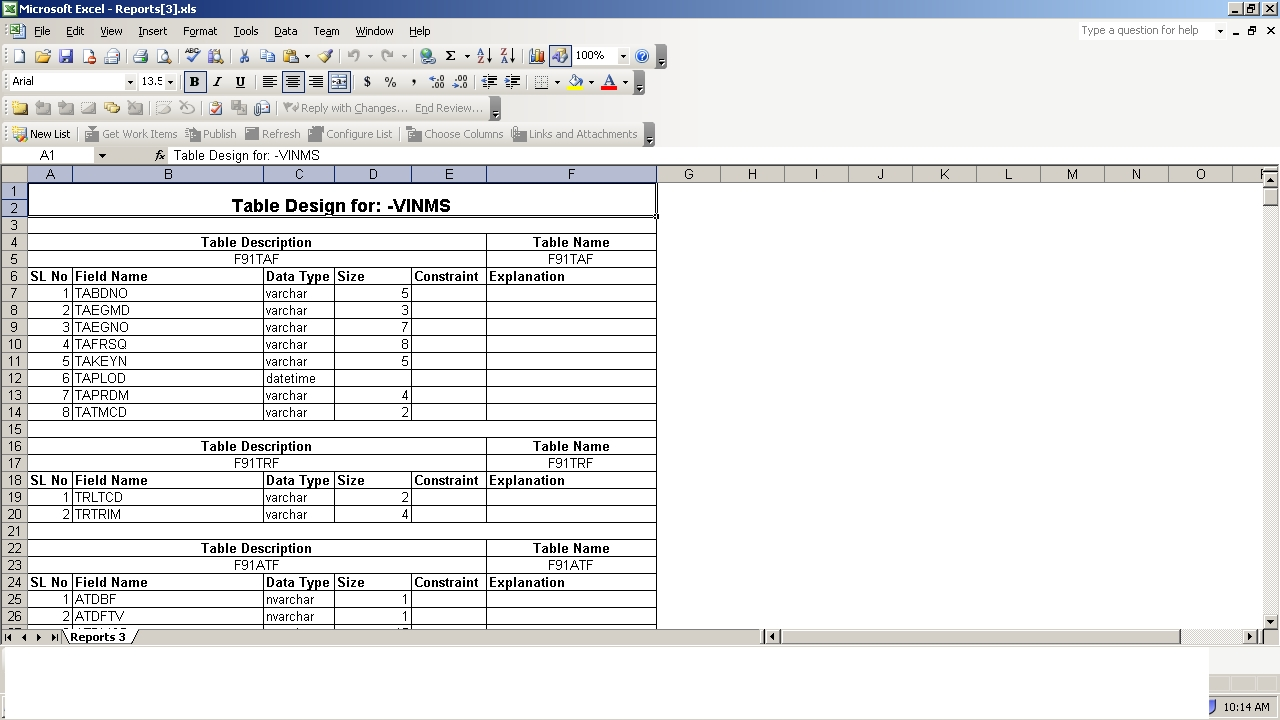 Sql database schema to excel my views thoughts for Table design sample